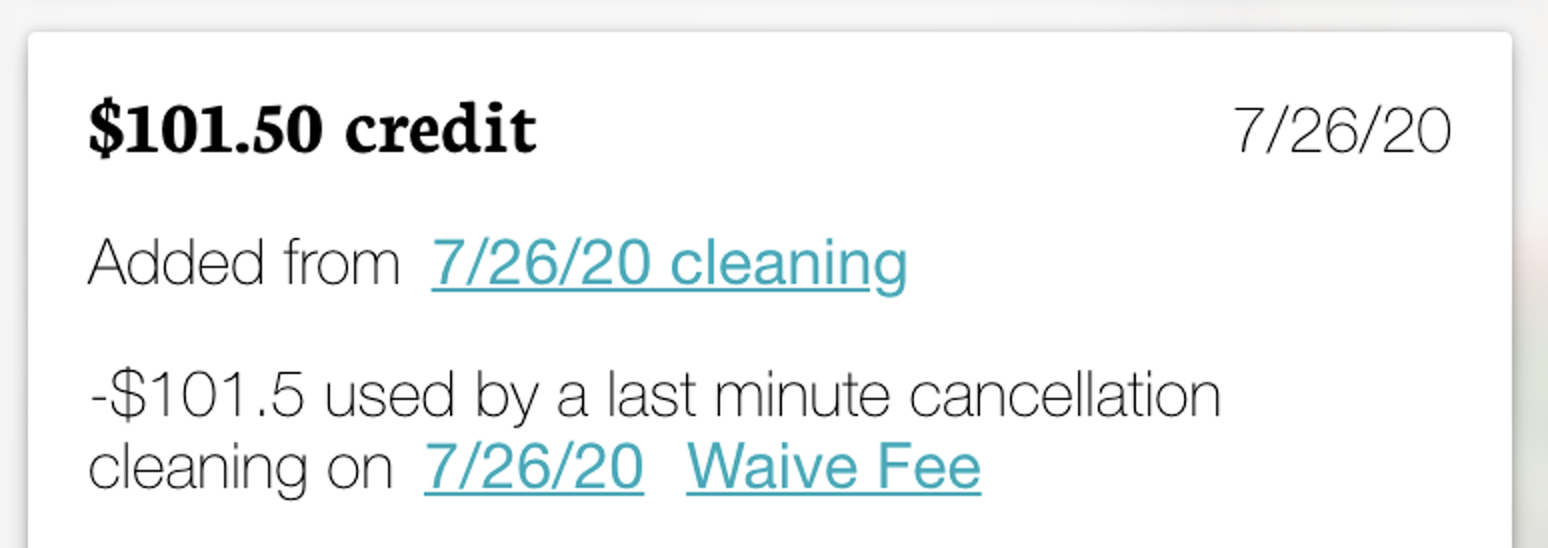 """Example of what """"Waive Fee"""" looks like."""