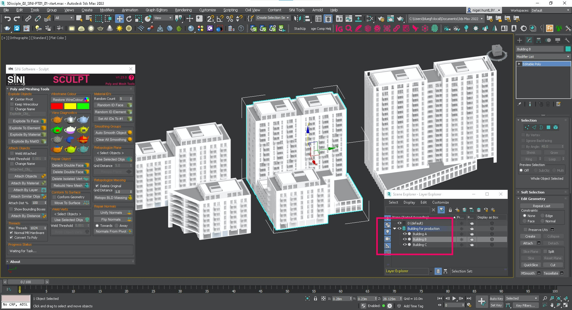 Screenshot showing seperate building on new layers.