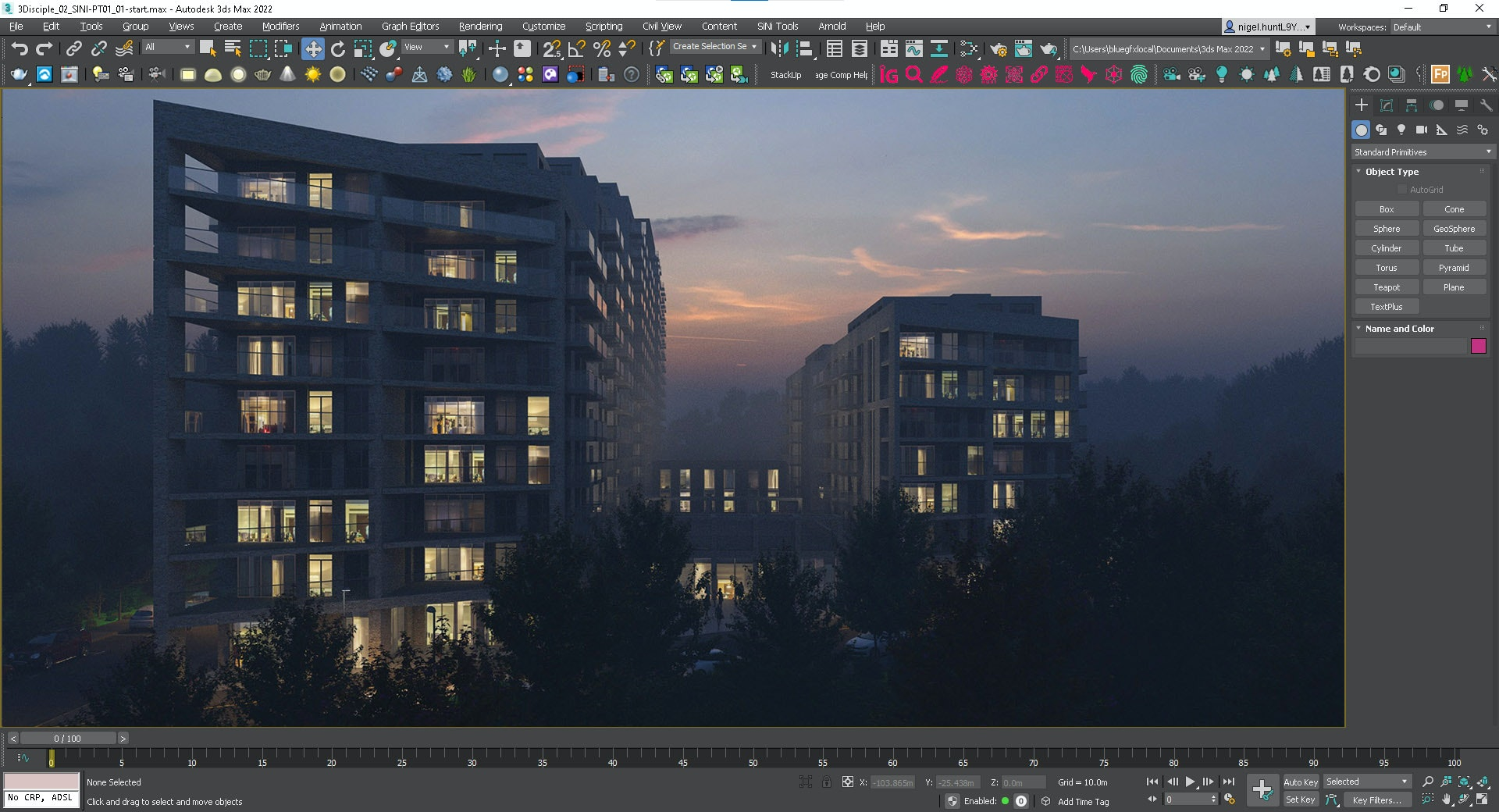 Screenshot of final project rendered in V-Ray 5.