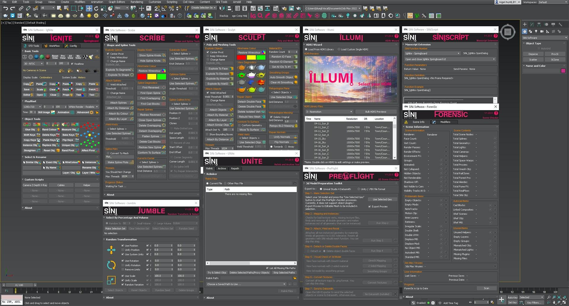 Screenshot of the 3ds Max IgNite utility plugins