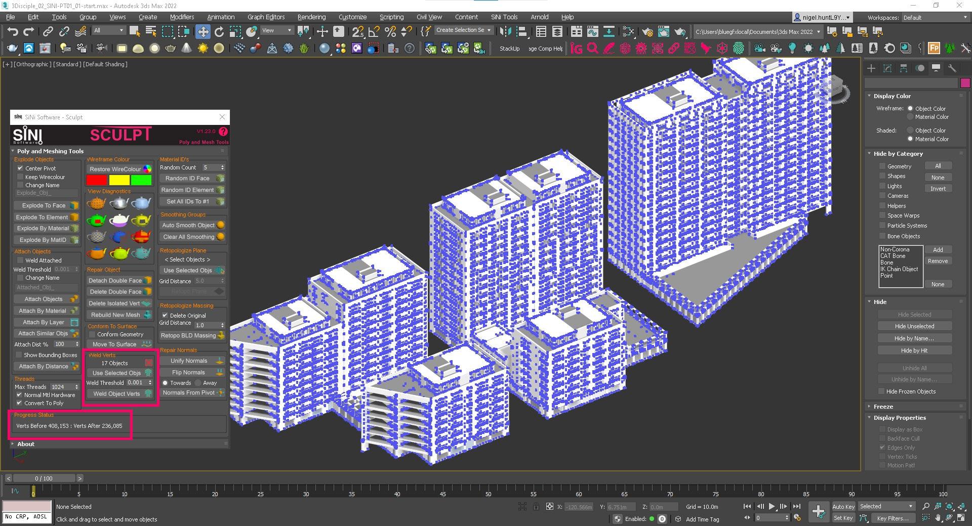 Screenshot of Sculpt - Weld Vertices.