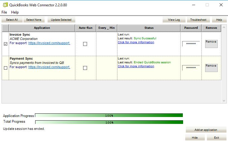 QuickBooks Desktop Successful Sync