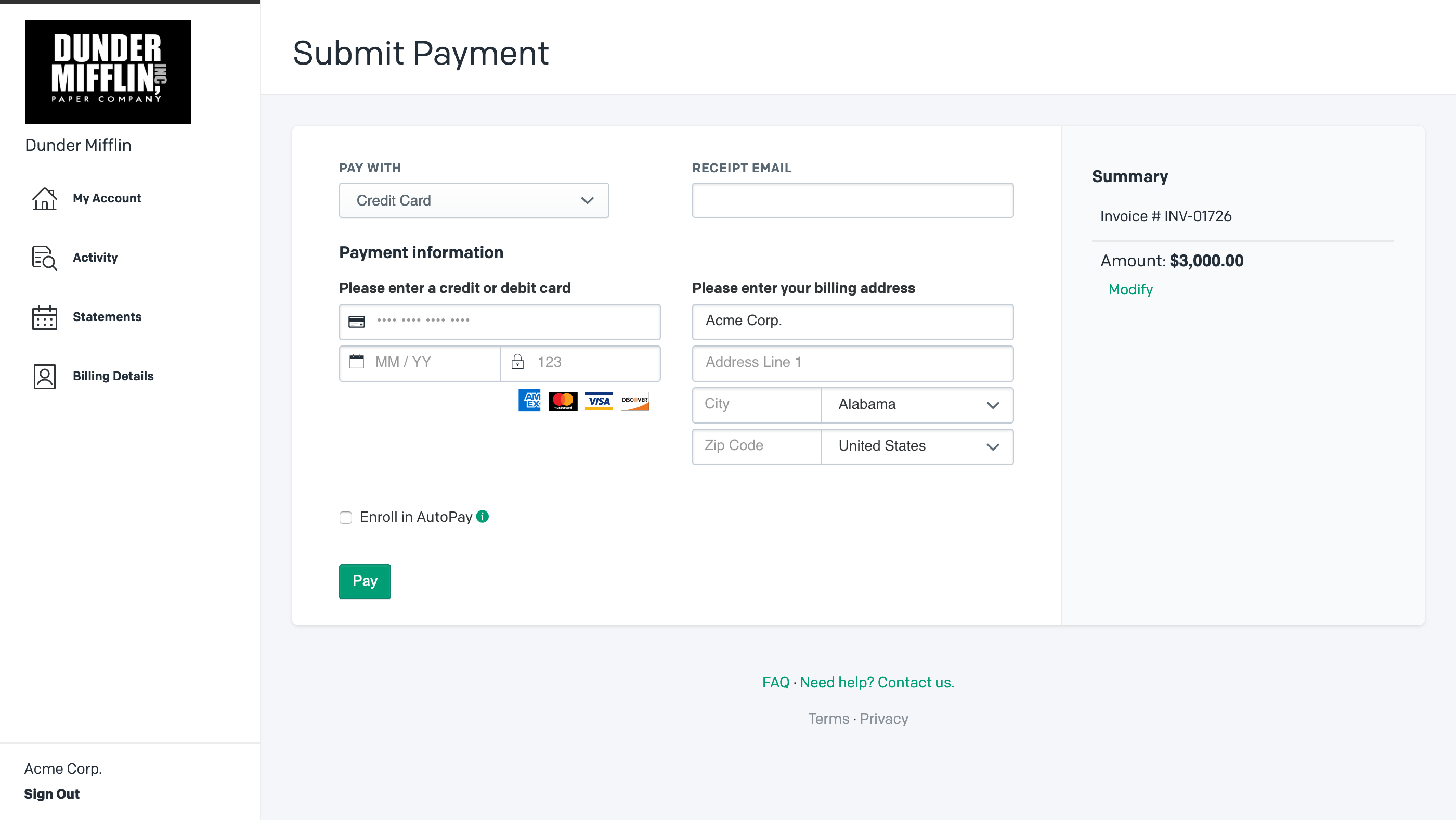 Pay Invoice with Credit Card