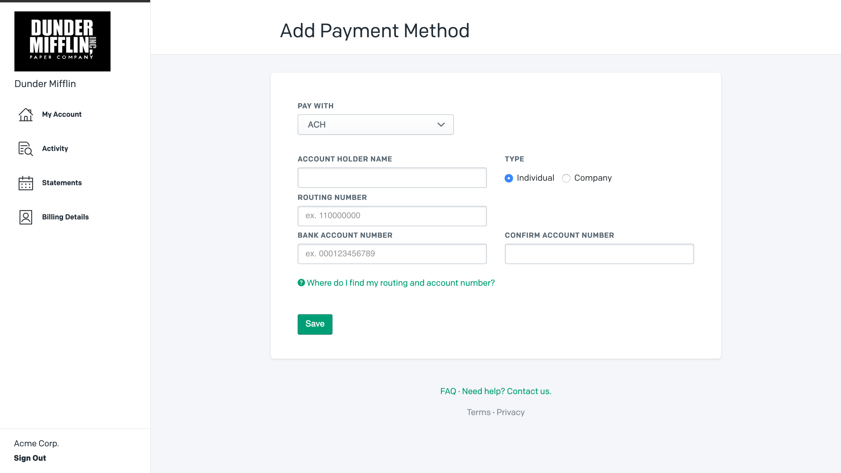 Updating payment information