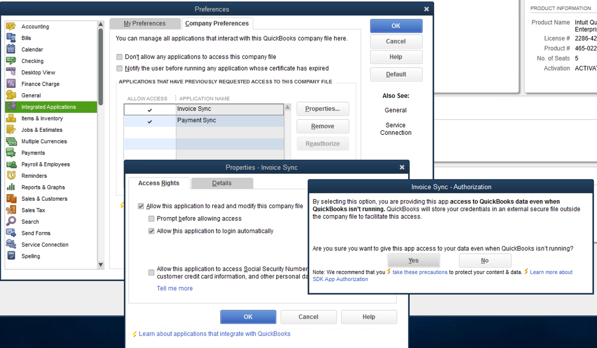 QuickBooks Desktop Enable Auto Integration Login