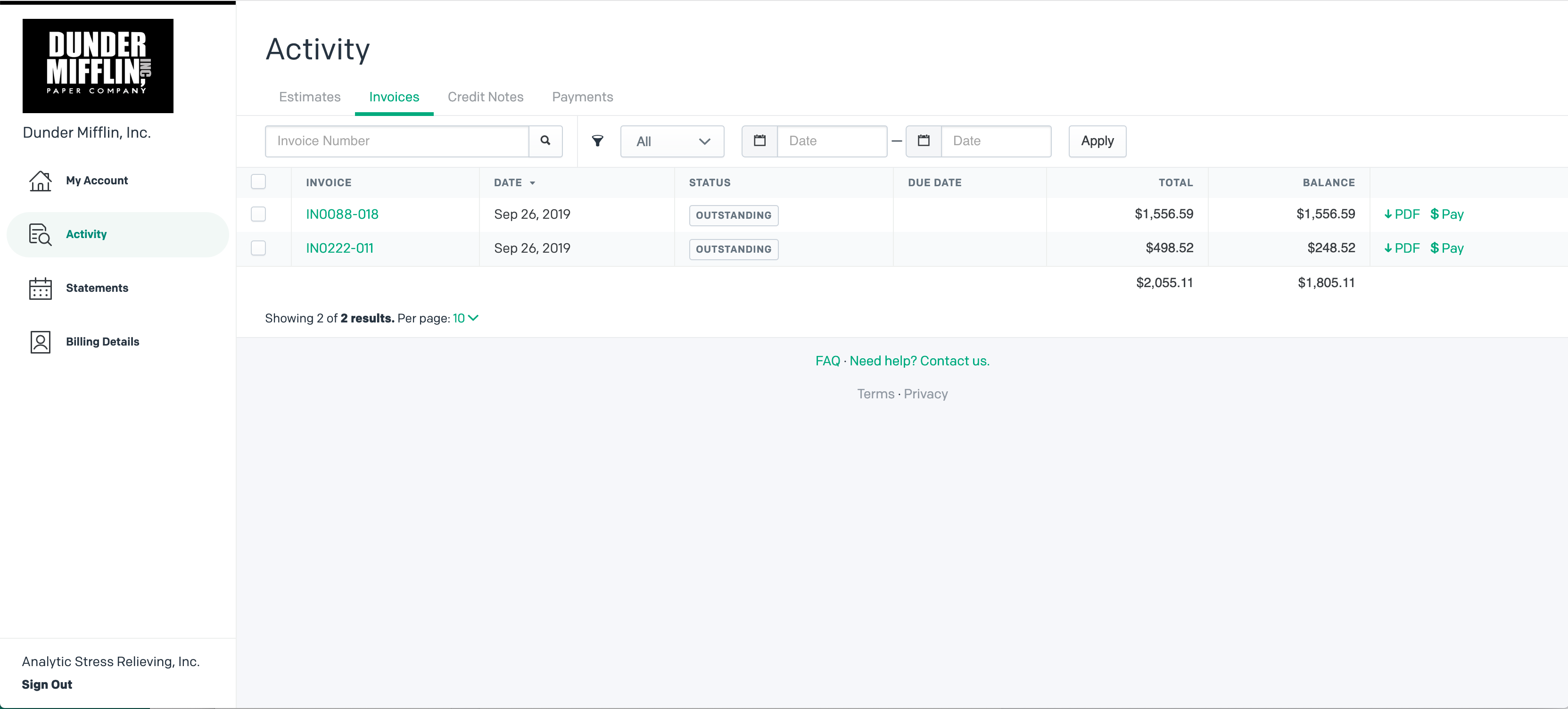 Customer Portal Activity