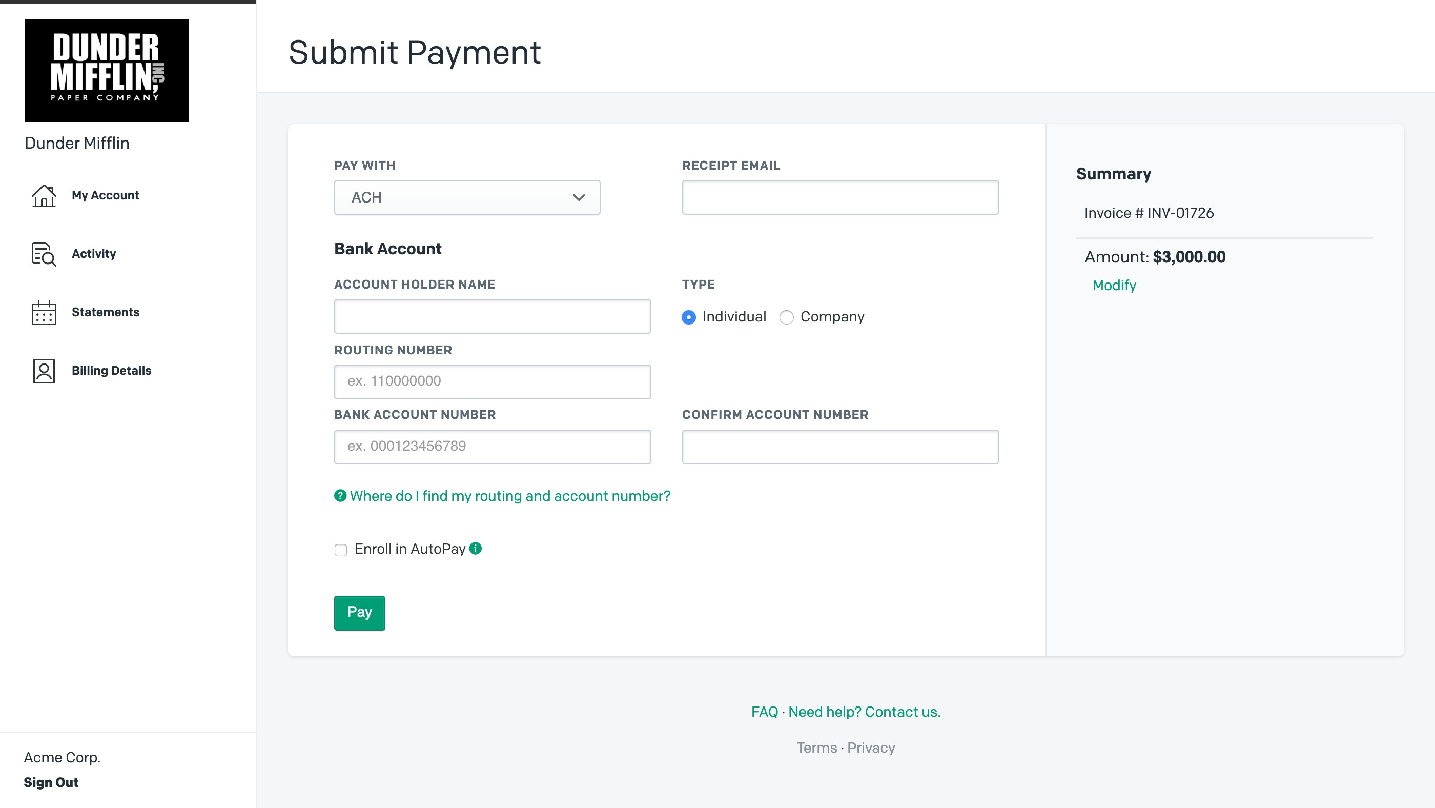 Pay Invoice with ACH