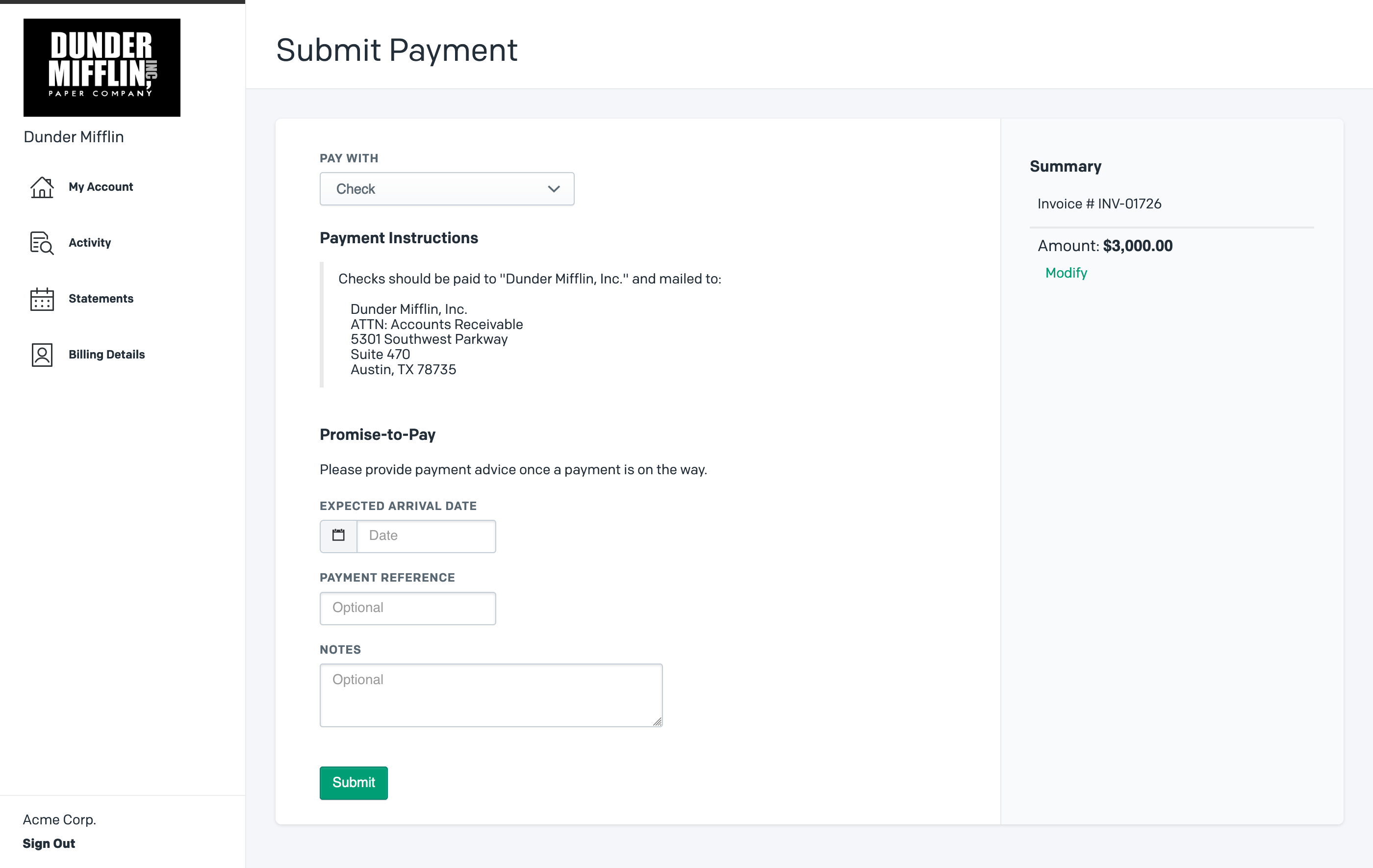 Pay invoice with check