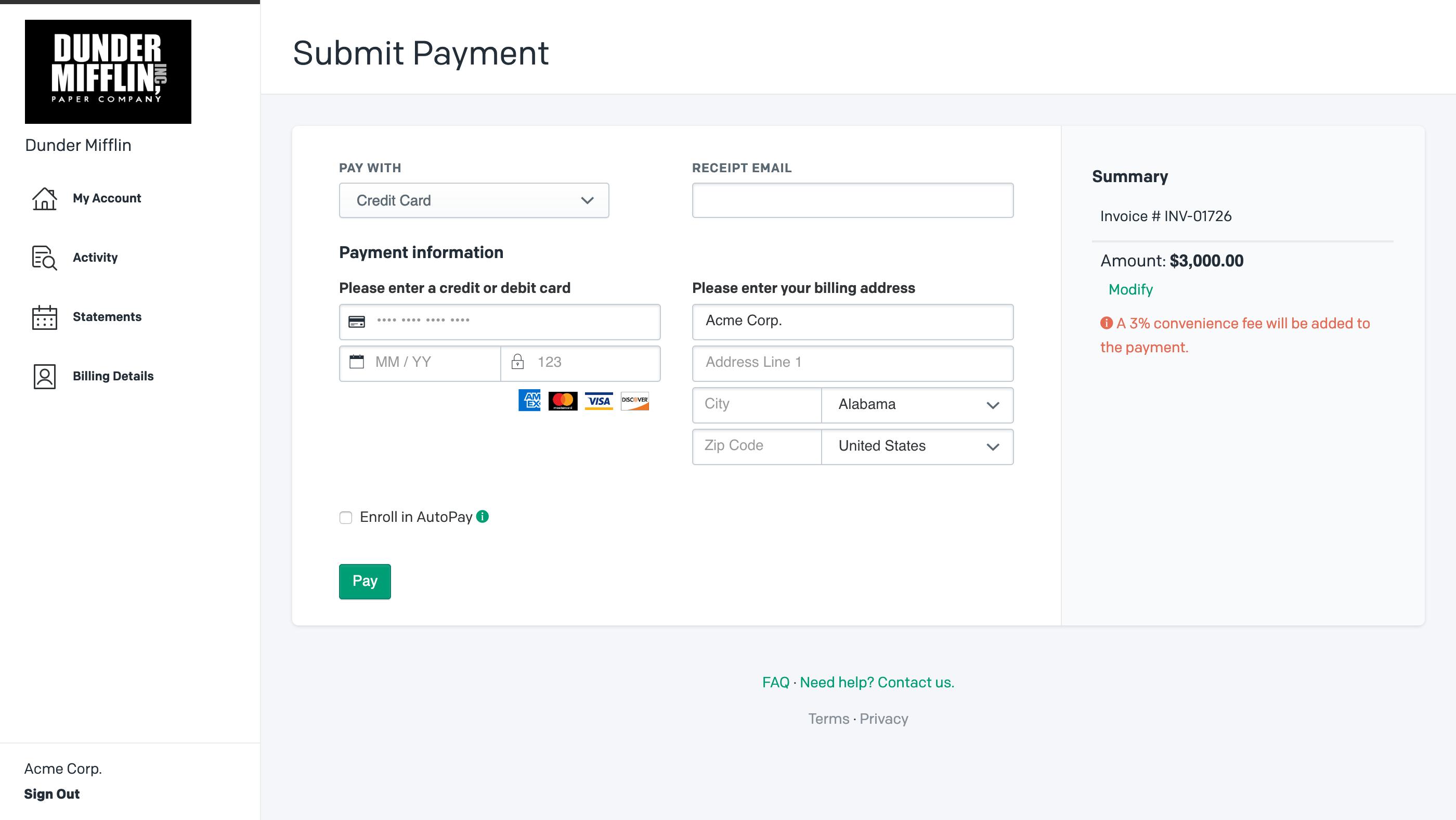 Credit Card Convenience Fee