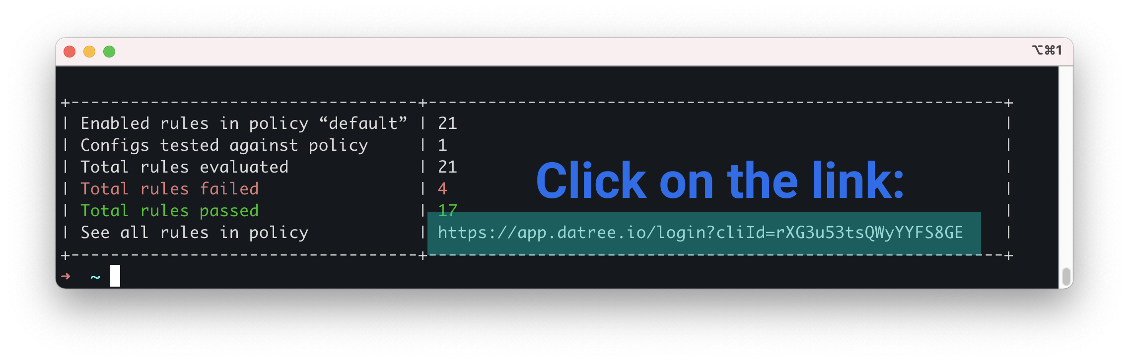 signup link in your terminal